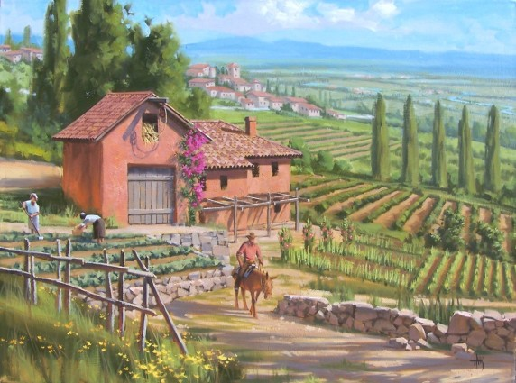 """Hillside Farms 30"""" x 40"""" oil painting by Tom Haas"""