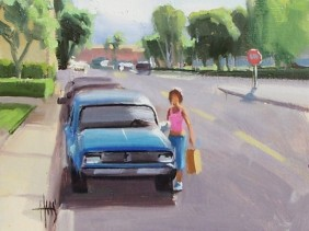 "Main Street Shopper 8"" x 10"" oil painting by Tom Haas"