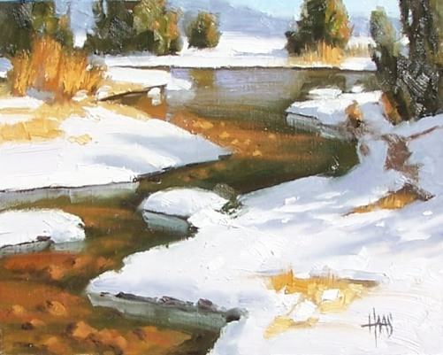 "March Thaw - Colorado 8"" x 10"" oil painting by Tom Haas"