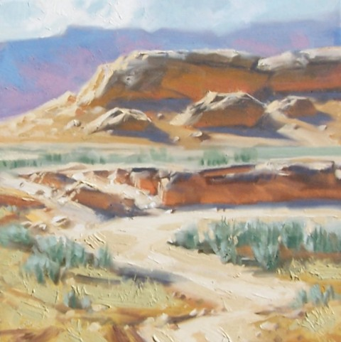 "Middle of Nowhere - Navajo National Monument, Arizona 16"" x 16"" x 2"" oil painting by Tom Haas"