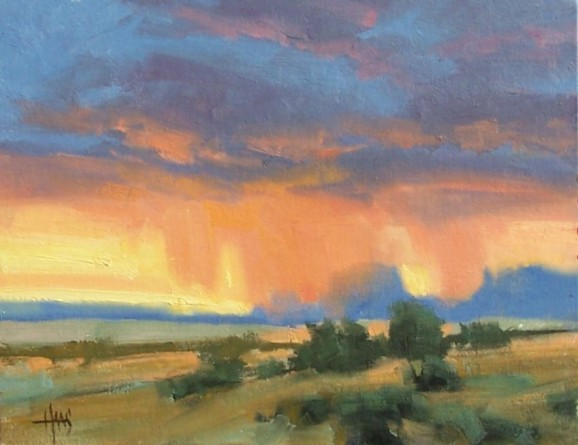 """Monument Valley Rain 11"""" x 14"""" oil painting by Tom Haas"""