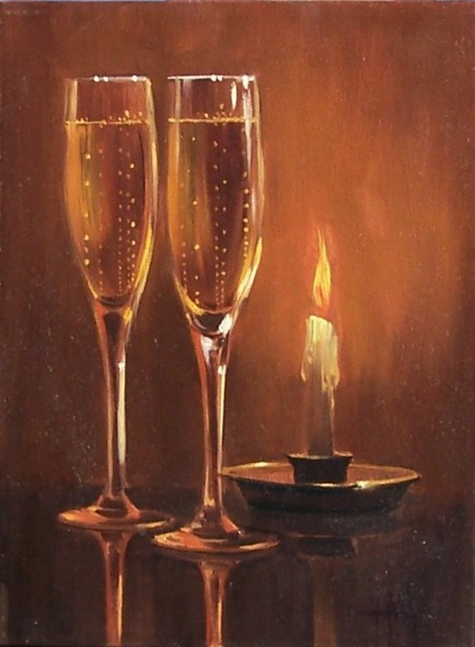 "More Bubbly M'Dear? 12"" x 9"" oil painting by Tom Haas"