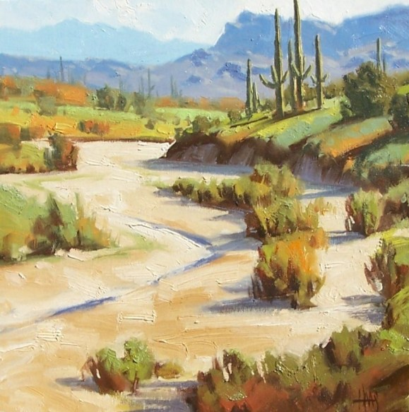 """Oracle - North of Tucson, Arizona 16"""" x 16"""" x 2"""" oil painting by Tom Haas"""