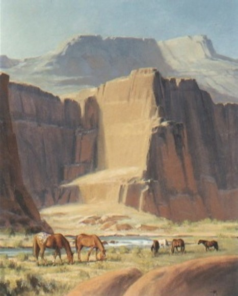 """Red Canyon Mares 60"""" x 48"""" oil painting by Tom Haas"""