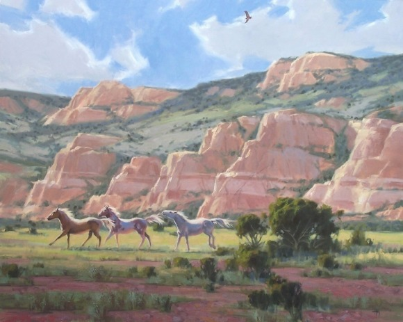 "Red Rock Mares 48"" x 60"" oil painting by Tom Haas"