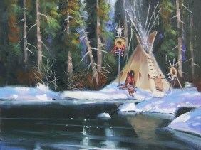Native American Western oil painitngs