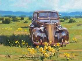 """Rusty Retirement - '37 Chevrolet 11"""" x 14"""" oil painting by Tom Haas"""