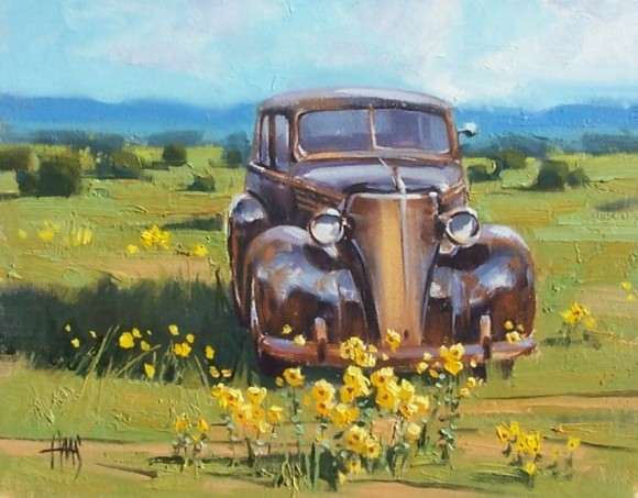 "Rusty Retirement - '37 Chevrolet 11"" x 14"" oil painting by Tom Haas"