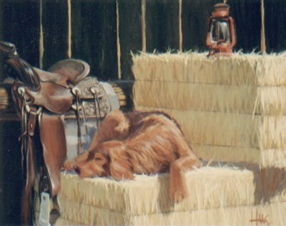 """Sam Sleeping 24"""" x 30"""" oil painting by Tom Haas"""