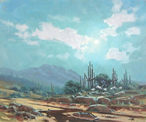 "Summer Moon - Arizona 20"" x 24"" oil painting by Tom Haas"