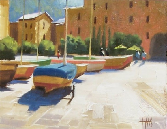 "Sunny Port 8"" x 10"" oil painting by Tom Haas"