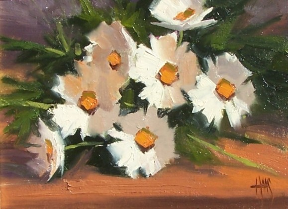 """Valentine Daisies 11"""" x 14"""" oil painting by Tom Haas"""