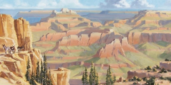 landscape burros Grand Canyon oil paintings