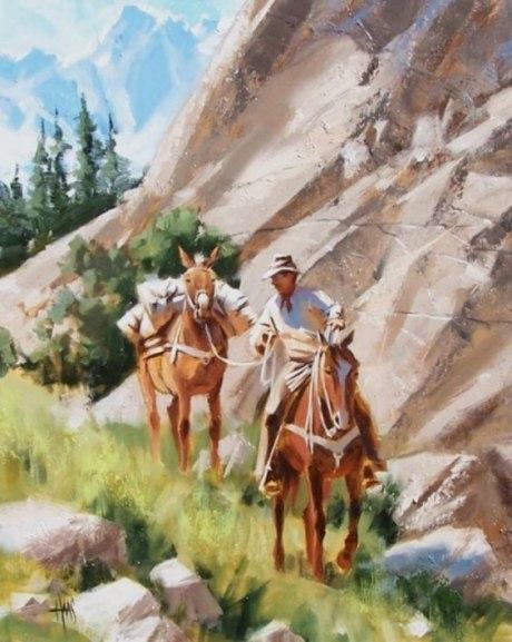 Cowboy horses mule Western oil painting