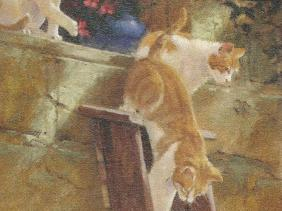Animals cats oil paintings
