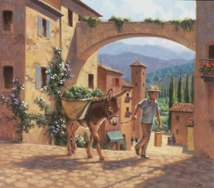 Tuscan genre oil paintings