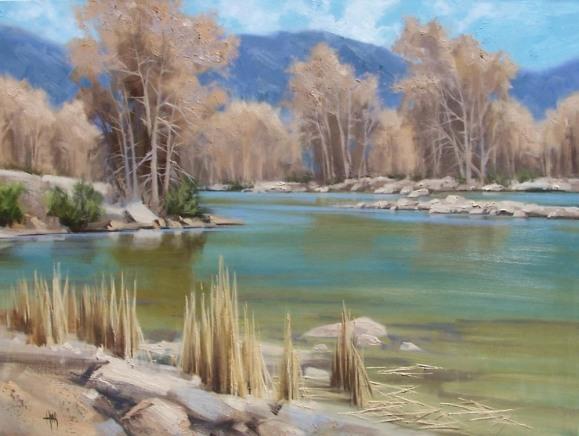 Texas landscape Guadalupe Austin oil paintings