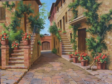 Tuscan genre oil paintings