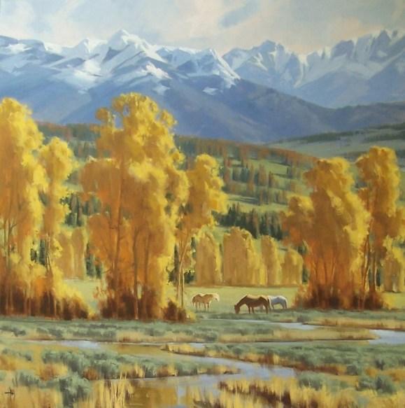 Landscape horses oil paintings