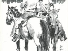 Western drawing horses cowboys