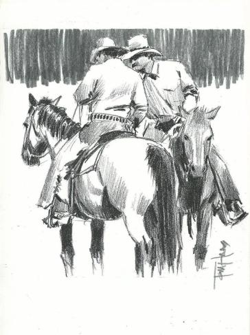 Western drawing horses cowboys