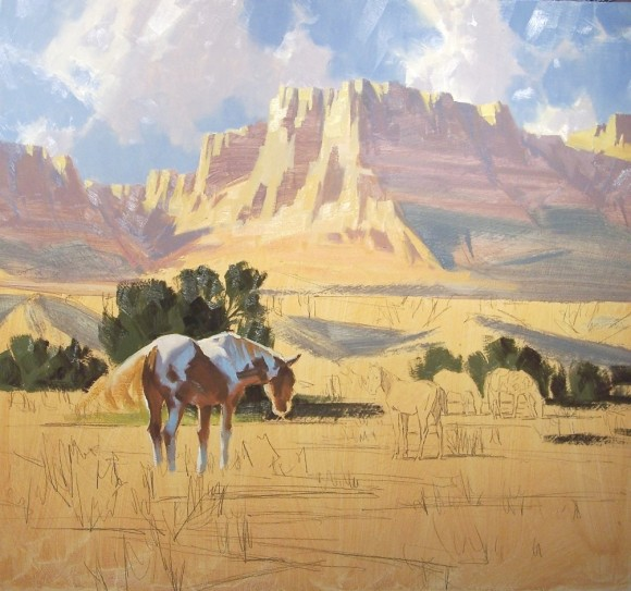 Western pastoral oil painting in progress