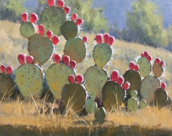 Landscape cactus oil painting