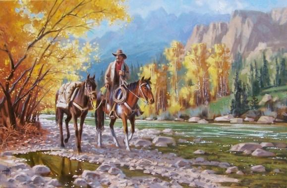 western horses cowboy oil painting