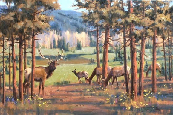 wildlife elk oil painting