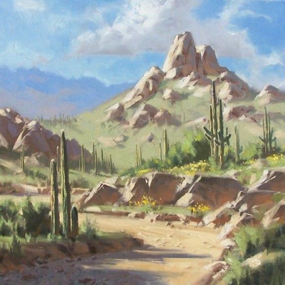 landscape Pinnacle Peak Arizona oil painting