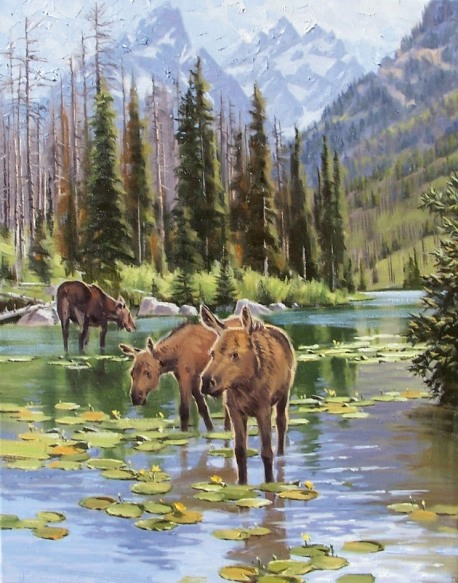 landscape String Lake Grand Teton National Park Wyoming oil painting