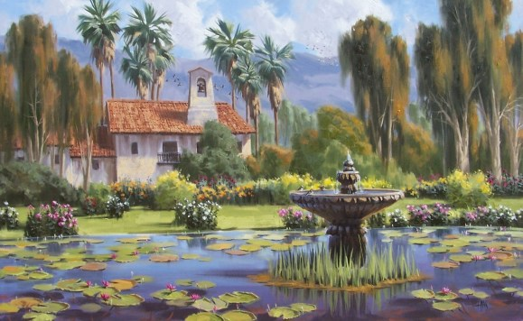"San Juan Capistrano Fountain - California 30"" x 48"" oil painting by Tom Haas"
