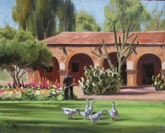 "San Juan Capistrano Gardener - California 16"" x 20"" oil painting by Tom Haas"