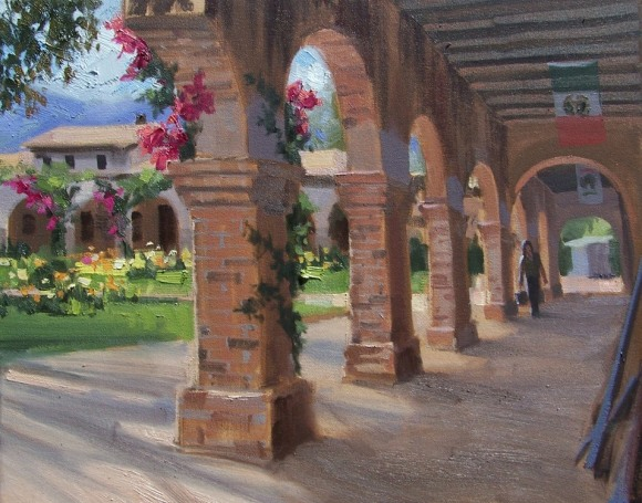 "San Juan Capistrano Pillars - California 16"" x 20"" oil painting by Tom Haas"