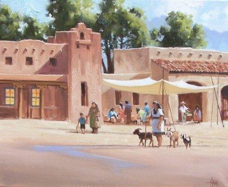 genre santa fe oil painting