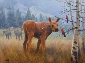 wildlife moose oil painting