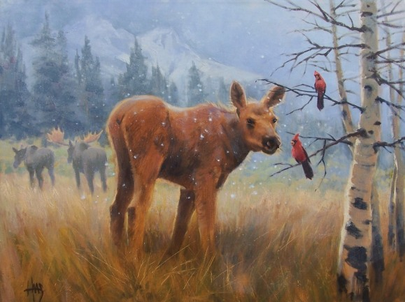 wildlife moose oil painting