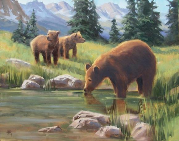 wildlife bears oil painting