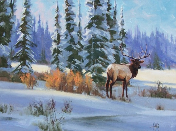 wildlife elk painting