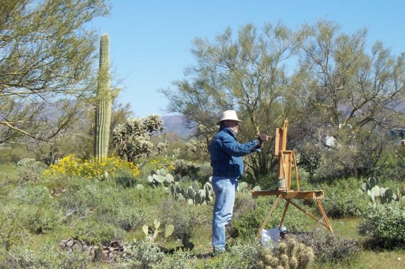 Tom Haas at work in the Sonoran Desert, Arizona