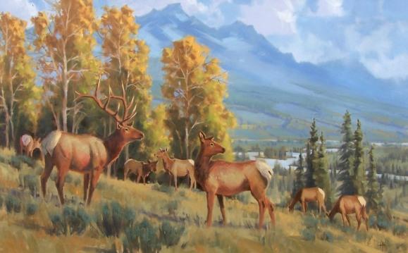 wildlife elk oil painting