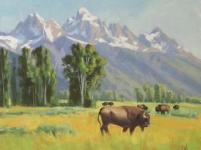 wildlife buffalo oil painting