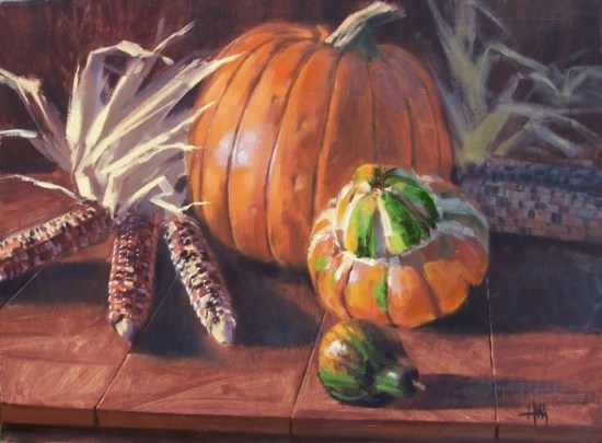 "still life Pumpkin Harvest 18"" x 24"" oil painting by Tom Haas"