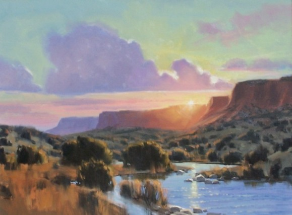 """landscape Sunset on the Rio 30"""" x 40"""" oil painting by Tom Haas"""