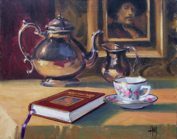 "still life Tea and Rembrandt 16"" x 20"" oil painting by Tom Haas"