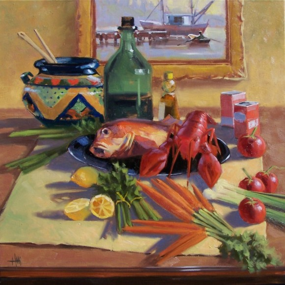 """still life Fresh Catch 30"""" X 30"""" oil painting by Tom Haas"""