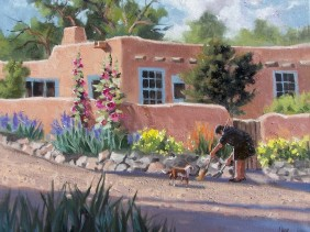 "Santa Fe Morning Chores 16"" x 20"" oil painting by Tom Haas"