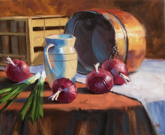"still life Onion Soup 20' x 24"" oil painting by Tom Haas"