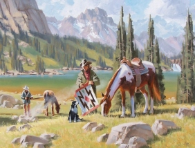 "Western Early Start 30"" x 40"" oil painting by Tom Haas"