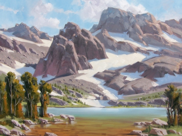 "Fremont Lake - Wind River Range, Wyoming 30"" x 40"" oil painting by Tom Haas"